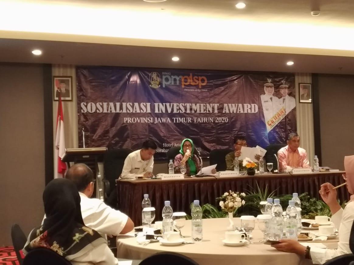 Sosialisasi Investment Award Provinsi Jawa Timur tahun 2020.